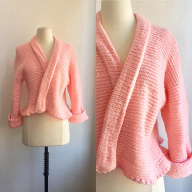 Vintage 40's 50's BUBBLEGUM PINK Cardigan Sweater / Cropped Bed Jacket / Hand Knit / Wide Sleeves + Ruffled Edge by CharmVintageBoutique