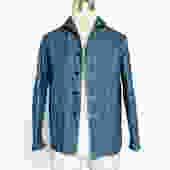 RRL DOUBLE RL BLUE LINEN/COTTON NAUTICAL CHORE COAT