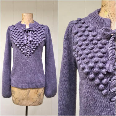 """Vintage Sweater, Dusty Plum Wool Blend Lace-Up Knit, Purple Puffed Sleeve Folk-Inspired Pullover, Medium 36"""" Bust by RanchQueenVintage"""