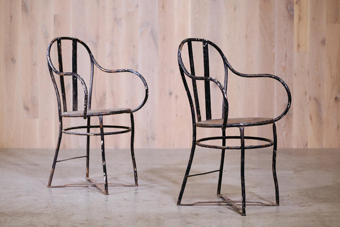 Pair of Steel Strap Back Captain's Chairs