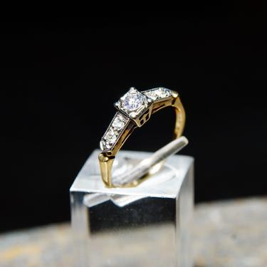Vintage 14K & 18K Gold Diamond Engagement Ring, Yellow Gold Band, White Gold Settings, .14 CT OEC Center Stone, Engagement Ring, 6 1/4 US by shopGoodsVintage