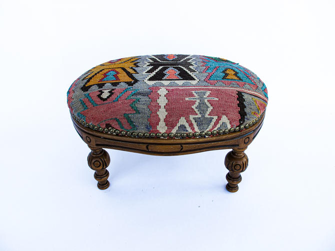 Antique Reupholstered Foot Stool with Vintage Kilim Material by PortlandRevibe
