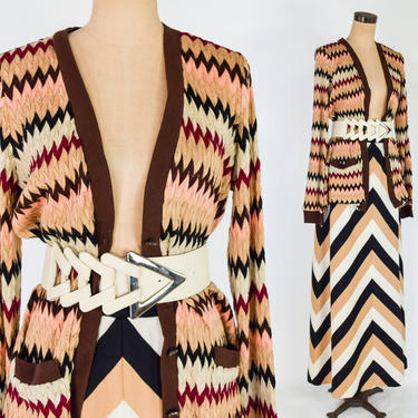 1990s Stripe Knit Cardigan Sweater | 1970s Chevron Maxi Skirt | 80s Bold Creme Belt by GlennasVintageShop