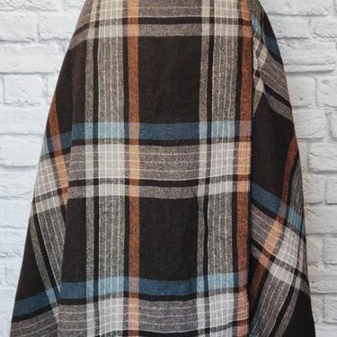 Vintage Natural Wool Blend Wrap Skirt // Plaid Tartan Tied Skirt by GemVintageMN