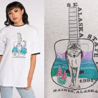Alaska State Fair Shirt 1991 Wolf Shirt 90s Haines Alaska Animal TShirt Alaska Tee Vintage Graphic Shirt 1990s T Shirt Grey Extra Large Xl by ShopExile