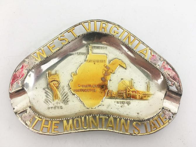 Vintage West Virginia Souvenir Tray Metal Ashtray Ring Dish MCM 1950s Made in Japan Mid Century Catchall Travel Clarksburg Charlston by CheckEngineVintage