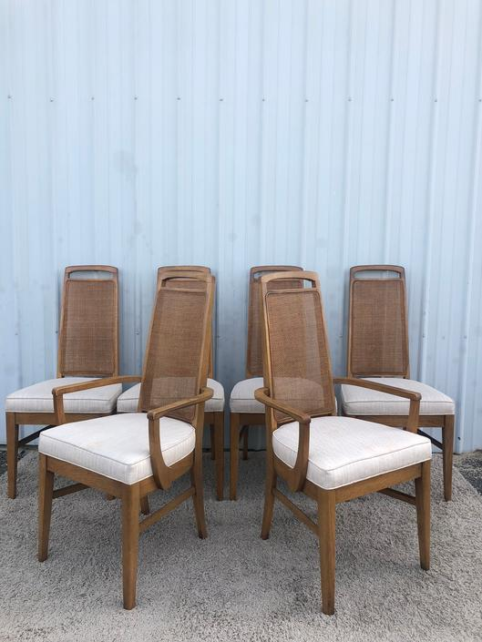 Set of 6 Mid Century Cane Back Dining Chairs
