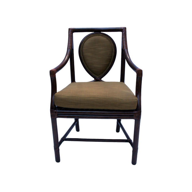 Vintage McGuire Model No. M-26 Rattan and Leather Corner Wraps Arm Chair by MetronomeVintage