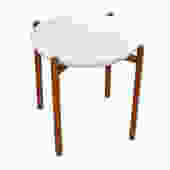 Danish Modern White Enamel + Teak Frame Catch-all / Tray Table