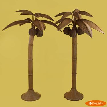 Pair of Pencil Reed Coconut Palm Tree Floor Lamps