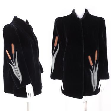 70s black plush faux fur coat M  / vintage 1970s appliquéd ultra suede Borganza disco era horsetail jacket by ritualvintage