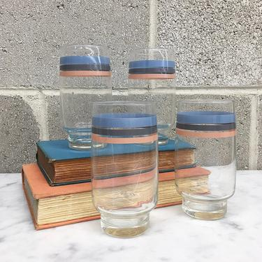 Vintage Drinking Glasses Retro 1980s Fiesta + Set of 4 Matching + Juice Glass + Striped + Tumblers + Drinkware + Home and Kitchen Decor by RetrospectVintage215