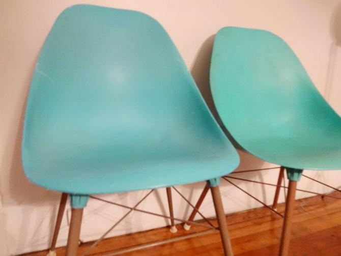 Hold for M - 2 Original Blue Plastic Shell Chairs 1960's Armshell Lounge Chair Knoll Aqua Turquoise Mid-Century Mad Men Eames Era Style by AntiqueApartment