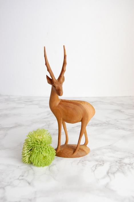 Vintage Wood Antelope Statue - Carved Wood Statue - Gazelle Statue by PursuingVintage1