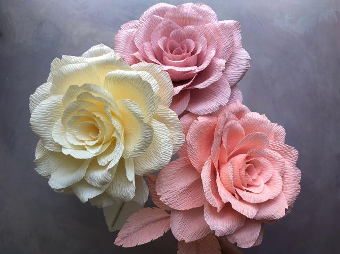 Crepe Paper Monochromatic Rose Bouquet -- Paper Flowers for Home Decor or Weddings by ReveryPaperFlora