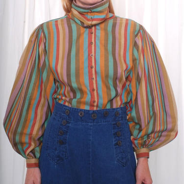 Vintage 1980s Billowy Striped Blouse (Med/Large) by 40KorLess