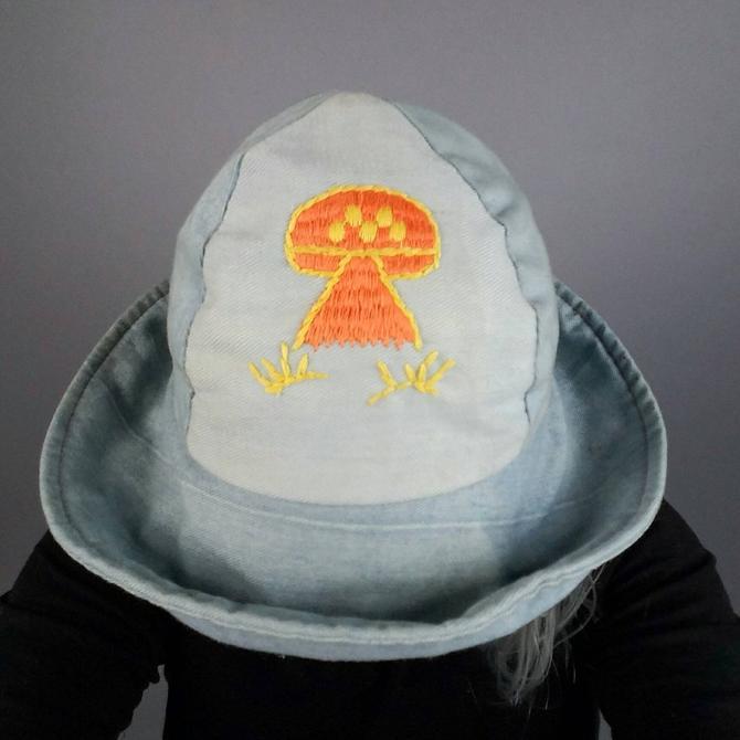 0b80058fcb2 70s Denim Bucket Hat Mushroom Patch