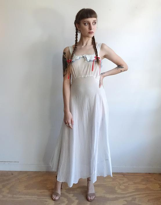 58aba88c3 Vintage 20s White Cotton Slip Dress  1920s Nightgown with Blue ...