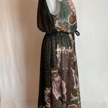 70's sheer dress~ paisley print ~boho style fit & flare poly knit~ gypsy vibes~ black purple green~ gathered blousy stretchy waist~ size med by HattiesVintagePDX