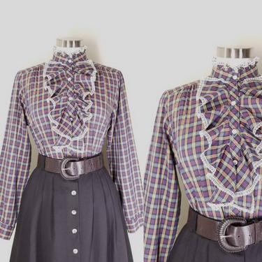 1980s Blueberry Plaid Ruffled Prairie Blouse, Large ~ Lace Trim Cascade Collar ~ Tartan Plaid Cotton Button Shirt ~ Retro High Neck Blouse by SoughtClothier
