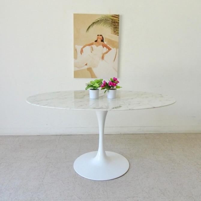 Oval Faux Marble Dining Table
