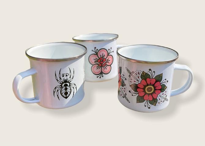 Fast Doll indoor / outdoor white enamel coffee or tea mugs - pink flower, spider, flower & daggers by FastDoll