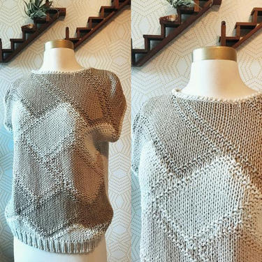 Vintage Neutral Hand Knit Cap Sleeve Sweater by FolkandCup