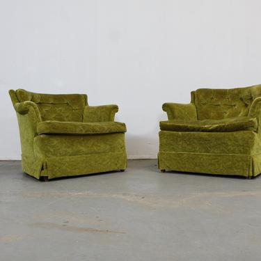 Pair of Mid-Century Modern Tufted Club Chairs by AnnexMarketplace