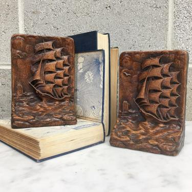 Vintage Bookends Retro 1970s Syroco + Wood Products + Sailing Ships + Hand Carved + Book Storage + Organization + Home and Shelving Decor by RetrospectVintage215