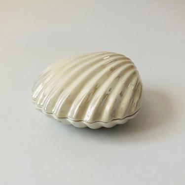 Vintage 80s Iridescent Ceramic Shell Box by SergeantSailor