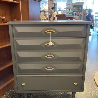 """Grey painted MCM chest of drawers, 36"""" x 18"""" x 43"""""""