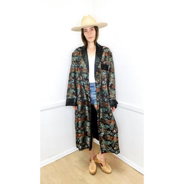 Brocade Asian Duster // vintage 70s 1970s kimono dress boho hippie blouse jacket black embroidered robe coat Chinese // O/S by FenixVintage