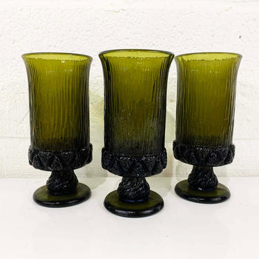 True Vintage Fostoria Sorrento Set of 3 Glasses Goblet Tiffin Madeira Franciscan Olive Avocado Green Heavy Wine Glass Bark Pedestal Water by CheckEngineVintage