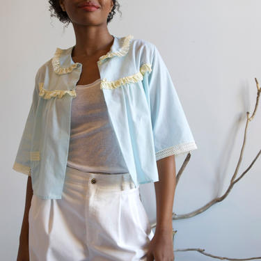 50s 60s pale blue top with lace by EELT