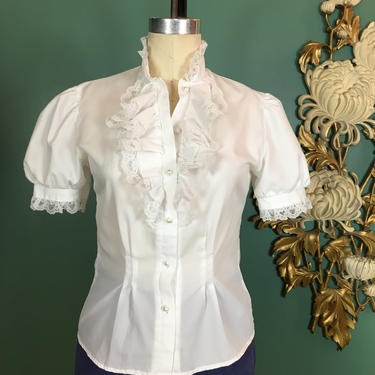 1980s blouse, white ruffle blouse, vintage 80s shirt, jabot style, fitted 80s blouse, pearl buttons, size small, puff sleeves, 34 bust by BlackLabelVintageWA