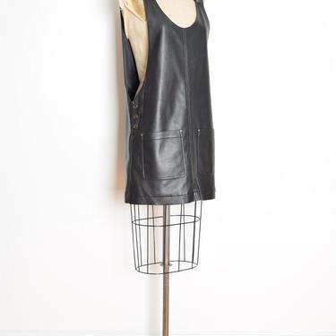 vintage 90s dress black polyeurethane pleather jumper cyberpunk raver mini L clothing club kid by huncamuncavintage
