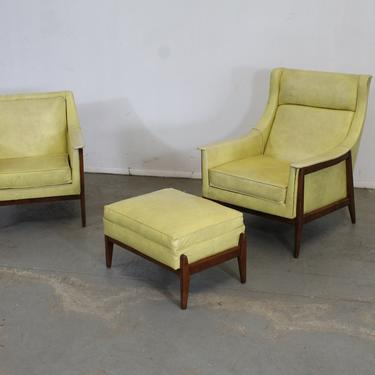 Pair of Mid-Century Modern Walnut Frame His/Her Lounge Chairs with Ottoman by AnnexMarketplace