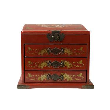 Chinese Oriental Red Dragon Phoenix Mirror Rectangular Jewelry Box ws1045E by GoldenLotusAntiques