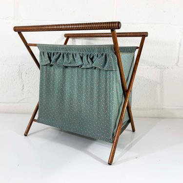 Vintage Knitting Basket Sewing Bag 1950s 1960s Fabric Crocheting Bag Rack Magazine Kit Box Blue Gray Folding MCM Mid-Century Modern by CheckEngineVintage