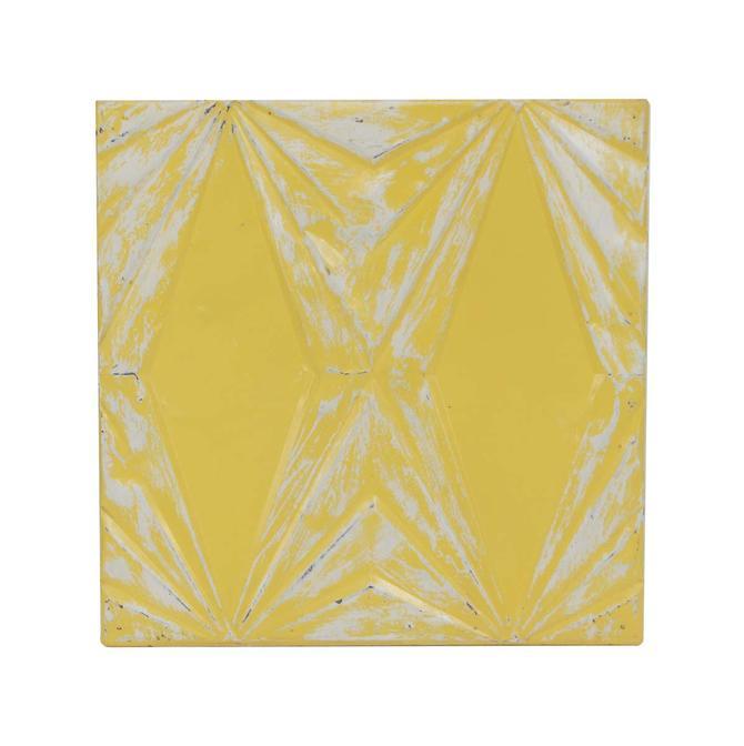 Handmade Art Deco Bright Yellow Tin Panel