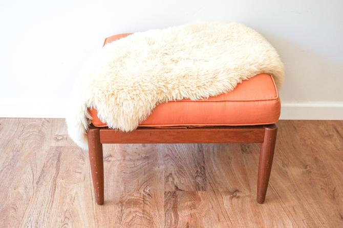 Danish Vintage Mid-Century Modern Ottoman With Teak Wood Base and Peachy Orange Silk Cushion by PortlandRevibe