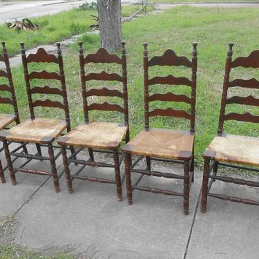 Antique Ladder Back Rush Seat Chairs Set of 5 Strong Sturdy High Point North Carolina Country Cottage Dining Kitchen Seating Farmhouse Decor by kissmyattvintage