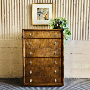 70s - 80s Honey Oak Tallboy Dresser by Bassett