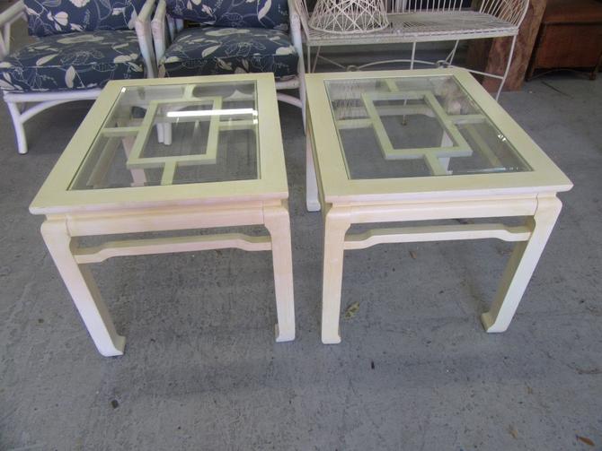 Asian Inspired Fretwork Side Tables