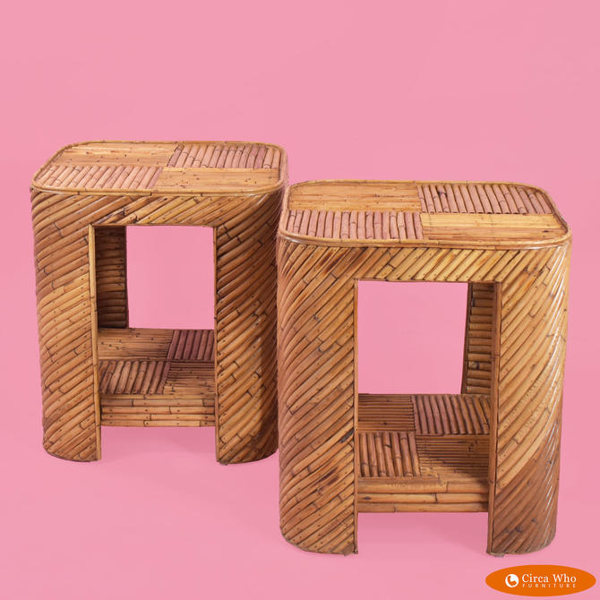 Pair of Split Bamboo End Tables