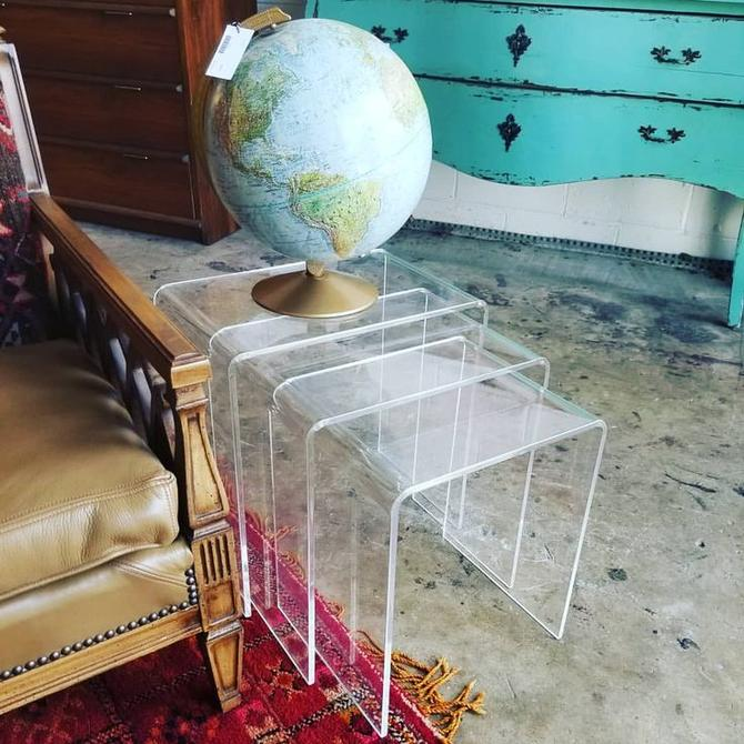 Just in! Set of 3 Lucite nesting tables. $150
