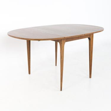 Broyhill Brasilia Mid Century Round Walnut Drop Leaf Expanding Dining Table - mcm by ModernHill