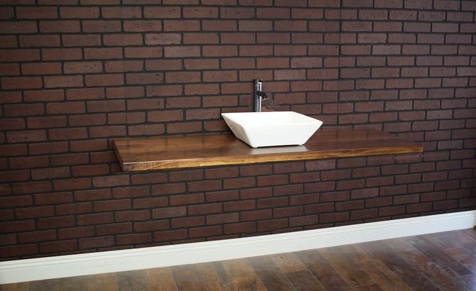 Floating Bathroom Vanity / Industrial restroom / Pipe Vanity / Rustic Furniture / Industrial Furntiture by TheRusticForest
