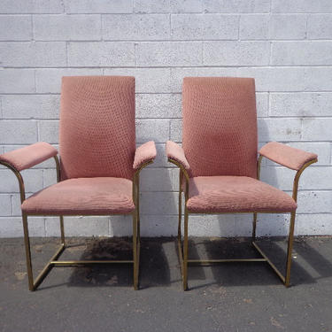 2 Dining Chairs Milo Baughman DIA Brass Mid Century Modern MCM Hollywood Regency Pink Boho Chic Vintage Set of Chair Seating Armchair Design by DejaVuDecors