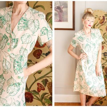 Early 1940s Dress // Palm Spring Weekend Dress // vintage 40s dress by dethrosevintage